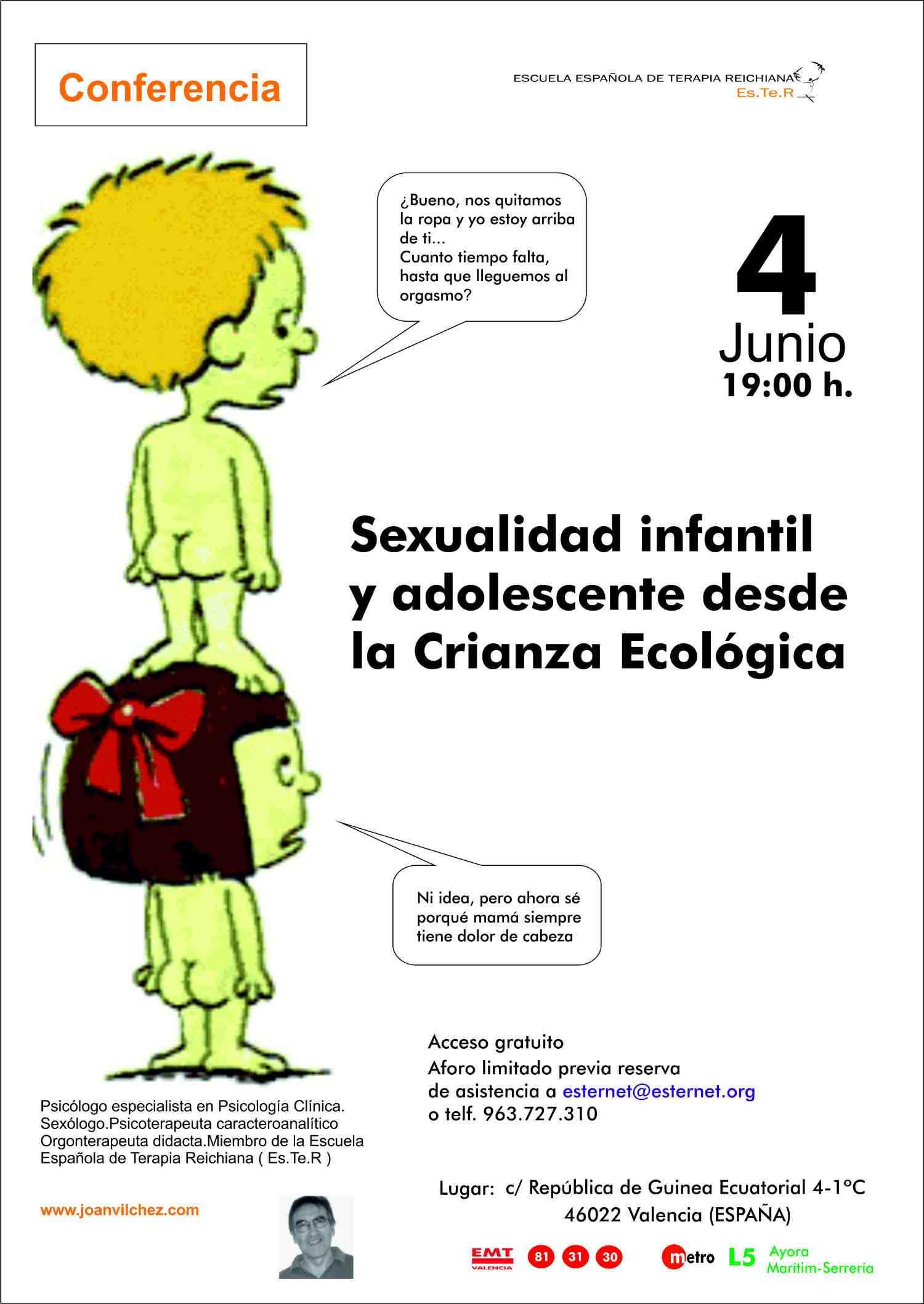 Joan Vílchez-PSICÓLOGO–SEXÓLOGO-PSICOTERAPEUTA en Valencia. Sexualidad infantil y adolescente en Crianza Ecológica/Cartel Conferencia-Es.Te.R.