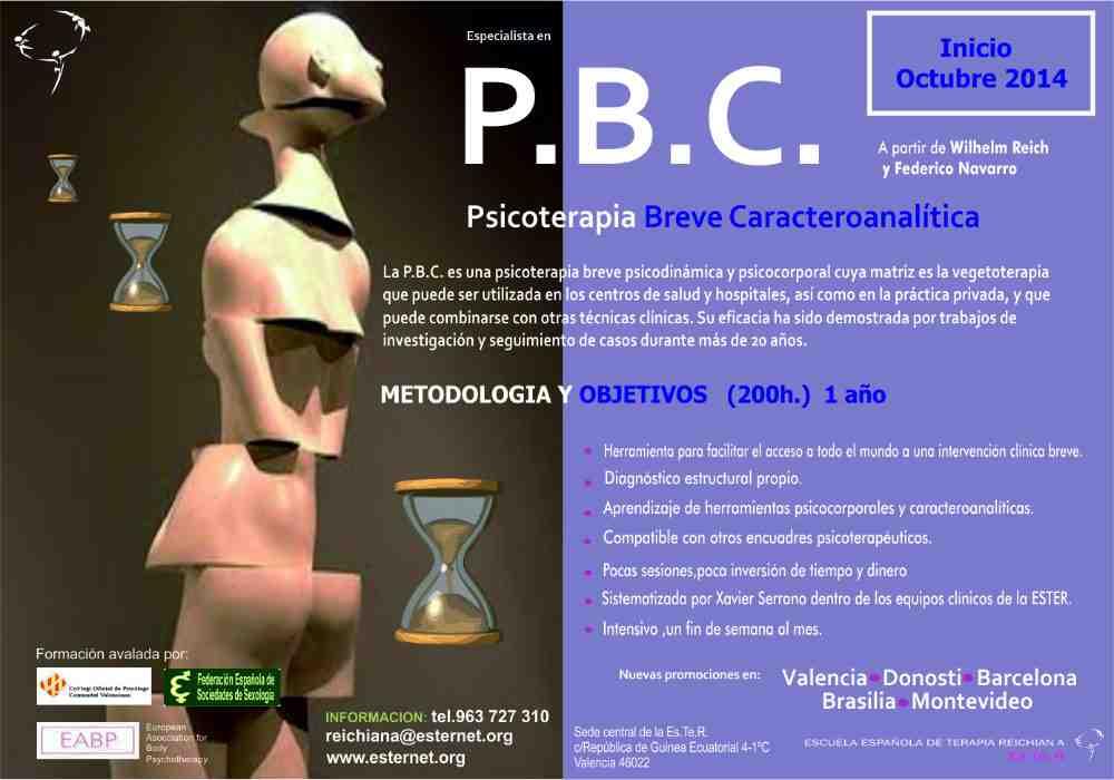 Curso Psicoterapia Breve Caracteroanalítica (PBC)-Escuela Española de Terapia Reichiana-ESTER/Cartel/Joan Vílchez- Valencia-PSICÓLOGO–SEXÓLOGO-PSICOTERAPEUTA